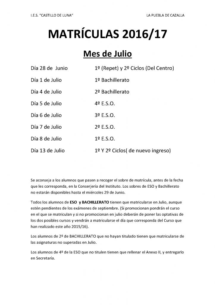 Calendario matriculación